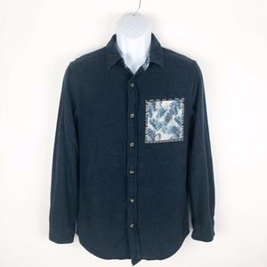 On The Byas PacSun Navy Flannel Button Down Shirt
